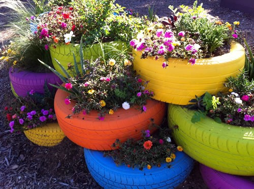 Old Tires Colorful Planters